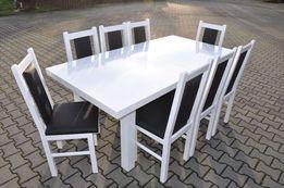 stol 185/244x95 x76 +8 krzesel bialy polysk hit okazja