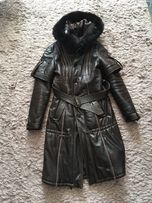 Пальто кожаное на синтепоне