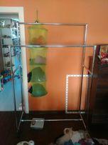 Вешалка двойная стойка для одежды, прочная, 185см х 120см металл. хром