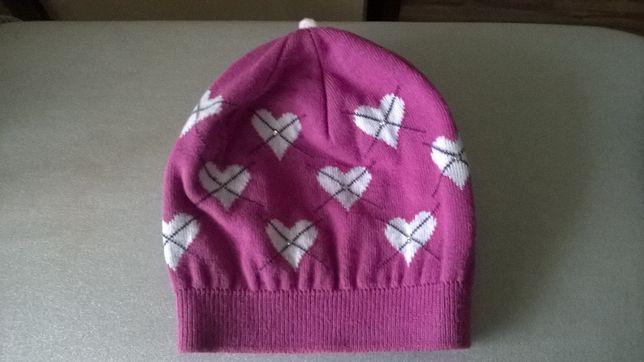 Różowa czapka w serduszka na dziewczynkę 9-11 lat Podłęże - image 3