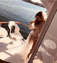 długa plaża pareo tiul narzutka plażowa sukienka sesja ciazowa unique