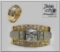Złoty pierścionek z białymi wstawkami (białe złoto) + cyrkonie Tychy