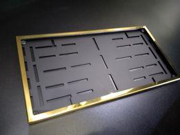 Рамка под Американский авто номер Золотая полированная нержавейка