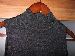 bluzka top damski czarny srebrna nitka s/m next
