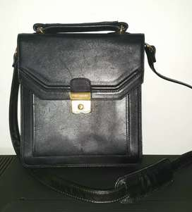 Genuine leather unisex satchel
