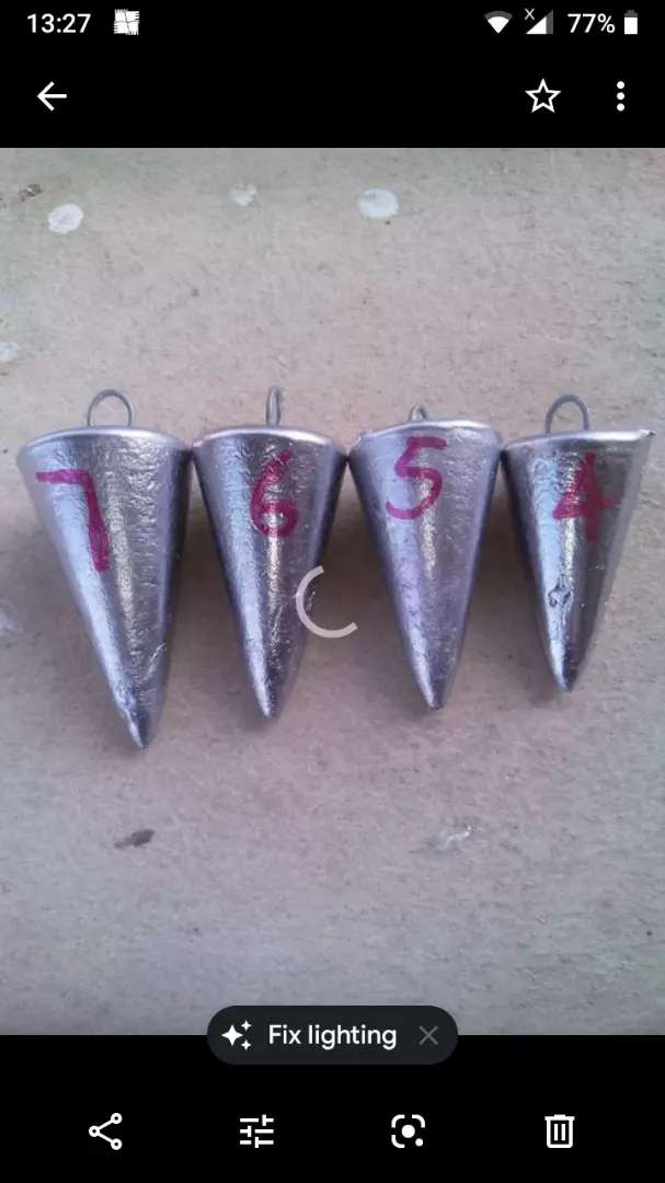 I am selling cone sinkers for fishing. 0