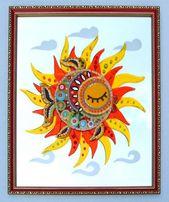 """Картина из стекла, фьюзинг """"Рыба-Солнце""""."""