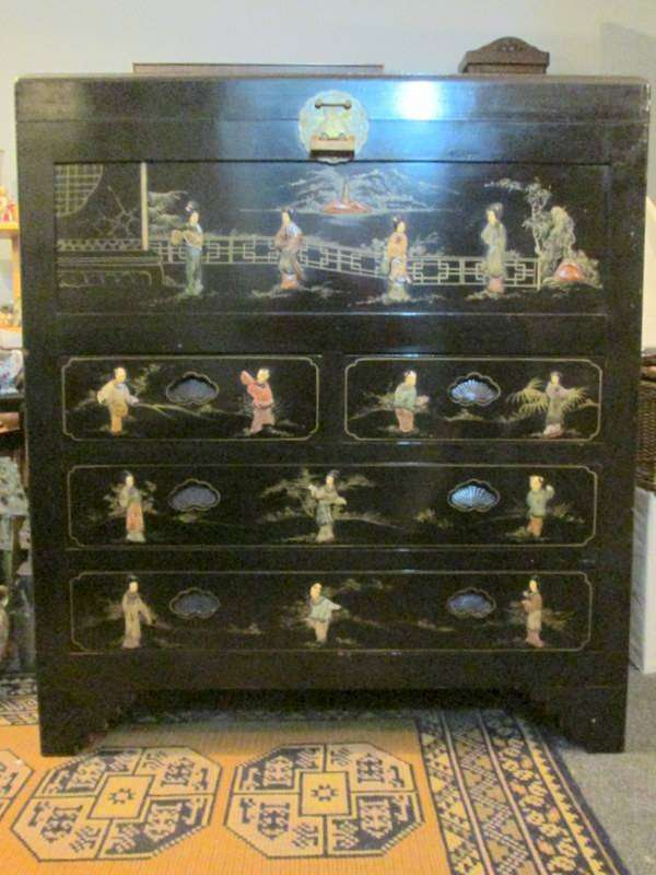 Vintage Chinese Lacquer Mother of Pearl Chest Drawers 0
