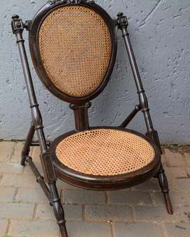 Antique Victorian Mahogany Caned Baby's Feeding Chair