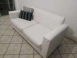 Bargain!!!Free delivery 2x White Leather 2 seater couches with wood