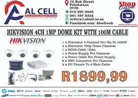 HIKVISION 4CH 1MP DOME KIT WITH 100M CABLE