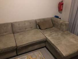 L Shaped Suede Couch
