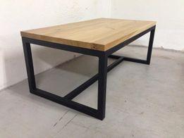 Stolik kawowy dębowy ława drewno stal dąb loft industrialny nowoczesny