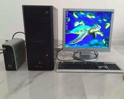 Полный комплект компьютер 2 ядерный системный блок монитор philips