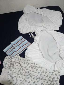Baby 2 white sheets,blanket and pillow case