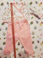 Костюмчик розовый: боди с длинным рукавом с запахом и ползунки турция