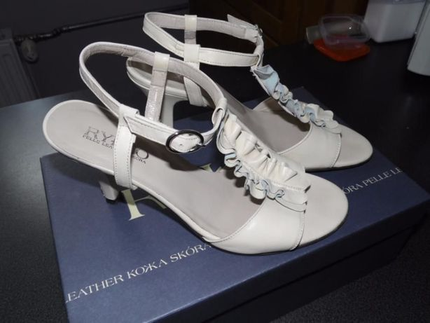Skórzane buty kremowe, r.36,5, Ryłko Rybnik - image 2