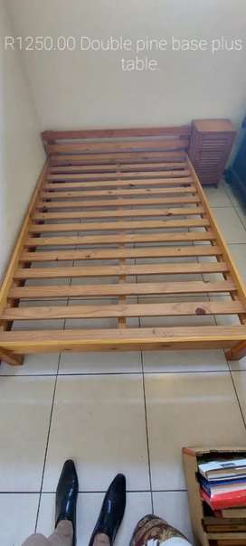 Pine double bed base for sale with 1 side table.