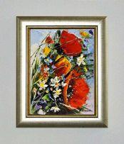 Obraz olejny - 18x24 cm maki bukiet kwiaty