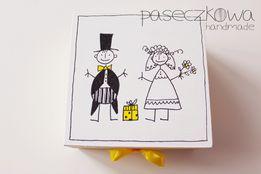 Pudełeczko na ślub, podziękowanie, pudełko ślubne Para Młoda, żółty