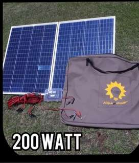Camping solar panels with bag.