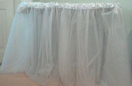 Юбка для стола на кенди бар, юбка из фатина, фотозона,праздничный стол
