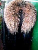 Продам кожаное пальто с натуральным мехом