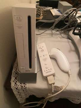 White Wii Console with included remote and nunchuk