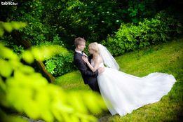 Suknia ślubna Sincerity 3520, rozm. 36, księżniczka, tiul, tren, welon