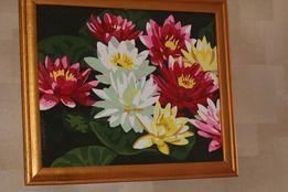 Картина лотосы на воде разноцветные натюрморт цветы живопись акрилом