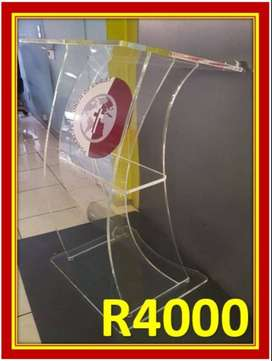 Upside Down Clear Thick C Shape Lectern
