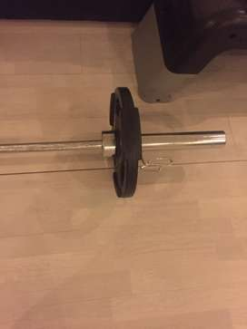 Barbell and 2x7,5 kg Maxed weights Reebok bench adaptible