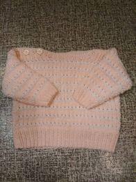 Кофта, свитер, кофточка, болеро (теплая) вязанная до 6 мес на девочку