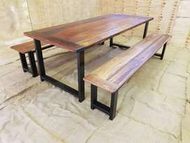 NEW 8 seater solid wood table with 2 benches