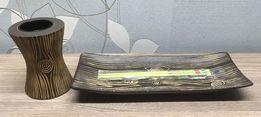 Подсвечник с досочкой и палочками для суши, с резьбой