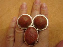 серебряный набор серьги и кольцо