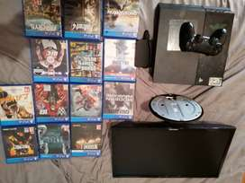 Ps4 500gb 13 games 1tb external 24inch Samsung monitor and 1 remote