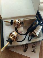 Автомобильные LED лампы головного света H4 Gold с блоком и куллером