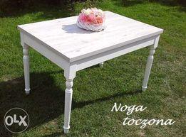 Biały szary stół prowansalski rozkładany 120x80 Shabby Vintage Ludwik