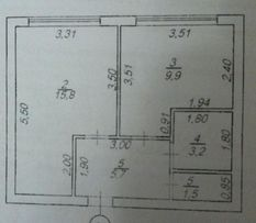 От хозяина. Дом сдан. Предлагаю 1-комнатную квартиру 36м2 . Фонтанка
