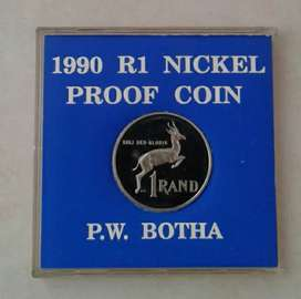 1990 Proof nickel R1 (P.W Botha) in case