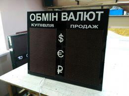 Табло обмен валют. Обменник, светодиодная вывеска, бегущая строка