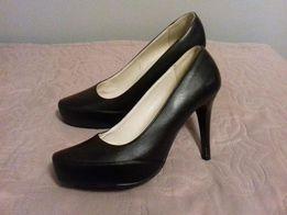 Buty czarne szpilki skóra