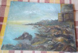 Stary obraz olejny na płótnie ze strychu z łodzią