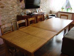 Stół dębowy patynowany rozkładany 12 osobowy - firmy BOCIAN