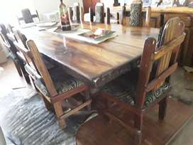 Dining room table and chairs from sleeper wood for sale