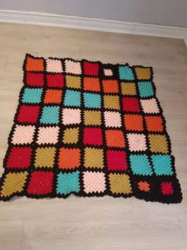 Hand-made crocheted blankie 120 x 120cm