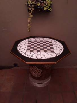 Table with mosaic and chess boardrdinlay