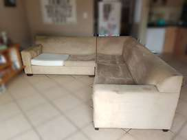 Beige  Suede Wetherlys L-Shape 5 Seater Living Room Couch