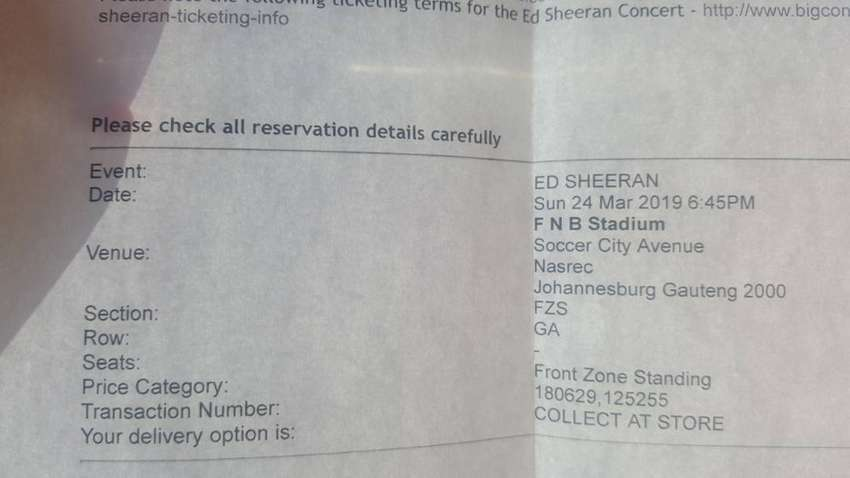 x2 Ed Sheeran tickets for the 24th of March. 0
